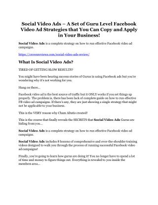 Social Video Ads review demo and $14800 bonuses