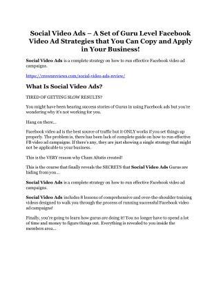 Social Video Ads review demo and $14800 bonuses