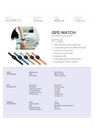 GPS Tracker Watch PT55 - GPS Tracker Watch for Complete Safety
