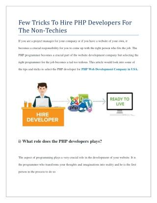 Few Tricks To Hire PHP Developers For The Non-Techies