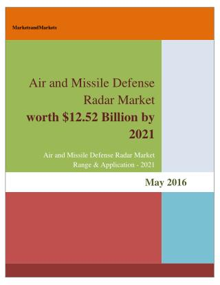 Air and Missile Defense Radar Market worth 12.52 Billion USD by 2021