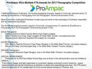ProAmpac Wins Multiple FTA Awards for 2017 Flexography Competition