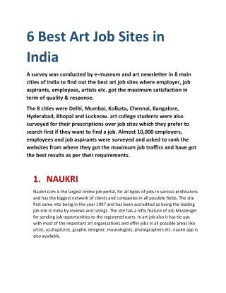 Art Jobs in Delhi