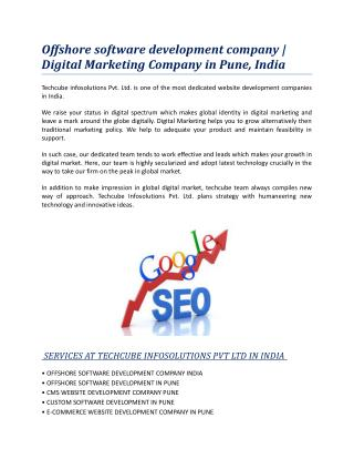 Offshore software development company | Digital Marketing Company in Pune,India