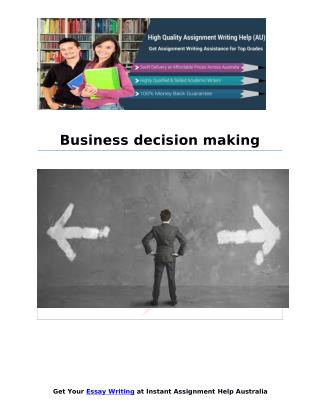 Business decision making Sample Report