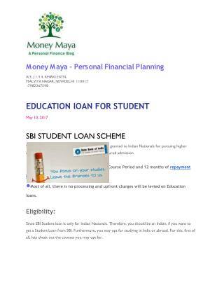 SBI LOAN SCHEME For STUDENT