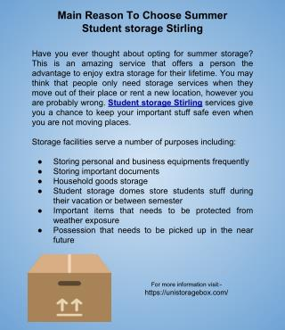 Main Reason To Choose Summer Student Storage Stirling