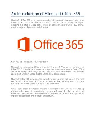 An Introduction of Microsoft Office 365