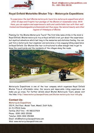 Royal Enfield Motorbike Bhutan Trip – Motorcycle Expeditions