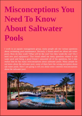 Misconceptions You Need To Know About Saltwater Pools