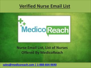 High Quality Nurses Email List Offered by MedicoReach