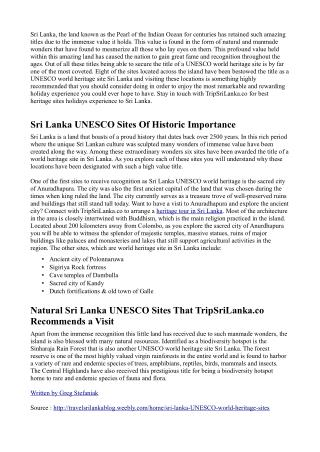 TripSriLanka.co Introduces The World Famous Sri Lanka UNESCO World Heritage Sites You Should Definitely Visit During You