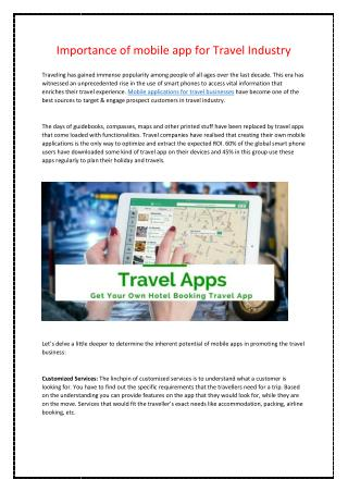 Importance of mobile app for Travel Industry