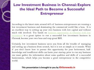 Low Investment Business in Chennai: Explore the Ideal Path to Become a Successful Entrepreneur