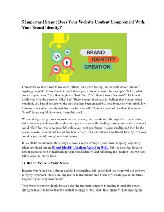 5 Important Steps : Does Your Website Content Complement With Your Brand Identity?