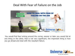 Deal With Fear of Failure on the Job