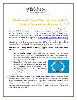 Silver Coated Copper Wire – A Boon For The Electrical Industrial Applications