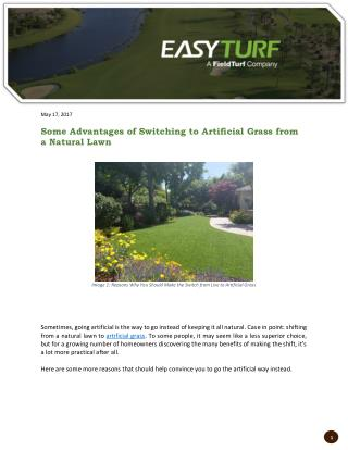 Some Advantages of Switching to Artificial Grass from a Natural Lawn