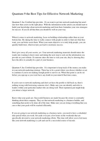 Quantum 9, Inc Internet Marketing Ideas for Newbie's And Experts