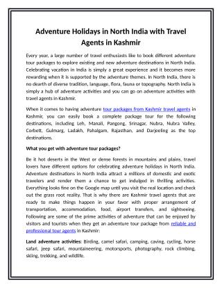Adventure Holidays in North India with Travel Agents in Kashmir