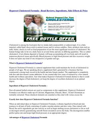 Reduce High Cholesterol with Hypercet Cholesterol Natural Formula