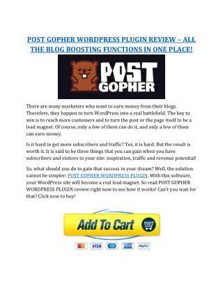 Gopher Wordpress Plugin Review