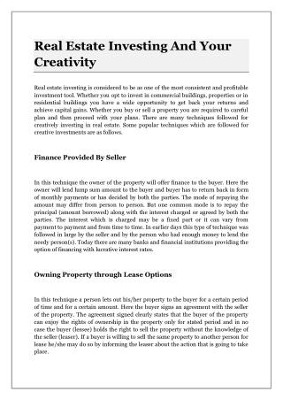 Real Estate Investing And Your Creativity