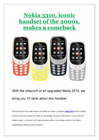 Nokia 3310, iconic handset of the 2000s, makes a comeback