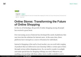 Online Stores: Transforming the Future of Online Shopping