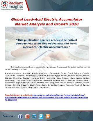 Global Lead-Acid Electric Accumulator Market Analysis and Growth 2020