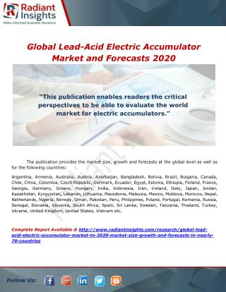 Global Lead-Acid Electric Accumulator Market and Forecasts 2020