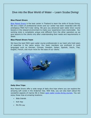 Dive Into The Blue World of Water – Learn Scuba Diving!