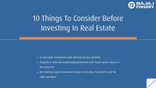 10 things to consider before investing in real estate