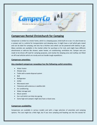 Campervan Rental Christchurch for Camping
