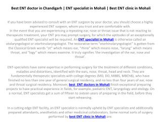 Best ENT doctor in Chandigarh | ENT specialist in Mohali | Best ENT clinic in Mohali