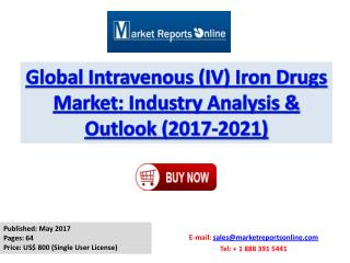 Global I.V. Iron Drugs Industry 2017 Market Growth, Trends and Demands Research Report
