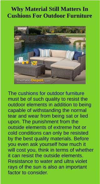 Why Material Still Matters In Cushions For Outdoor Furniture