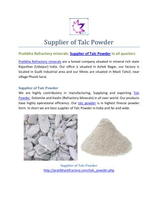 Supllier of Talc powder-Premium Quality Product