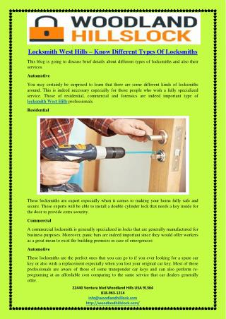 Locksmith West Hills – Know Different Types Of Locksmiths