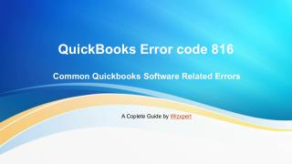 Quickbooks error code 816