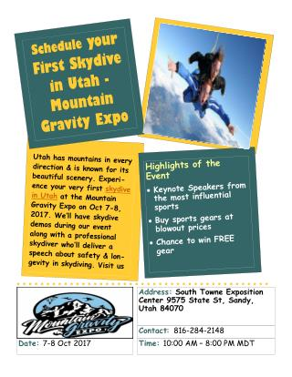 Schedule your First Skydive in Utah - Mountain Gravity Expo