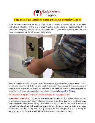 4 Reasons To Replace Your Existing Security Locks
