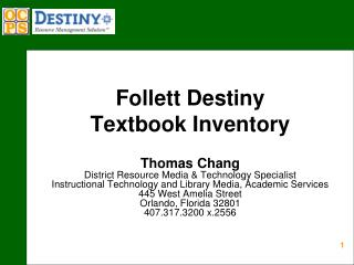 Follett Destiny  Textbook Inventory