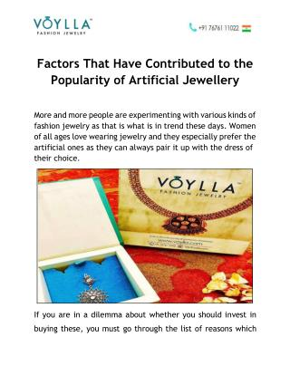 Factors that have Contributed to the Popularity of Artificial Jewellery