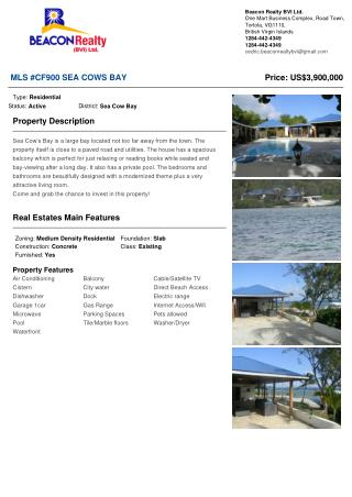 Sea Cow�s Bay Property for sale in British virgin Islands