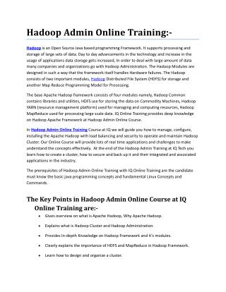 Live Online and Interactive Hadoop Admin Online Training conducted by Experienced Trainers - IQ Online Training