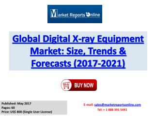 Digital X-ray Equipment Market: 2017 Global Industry Trends, Growth, Share, Size and 2021 Forecasts Report