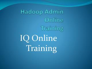 Very Interactive and Career Oriented Hadoop Admin Online Training - IQ Online Training