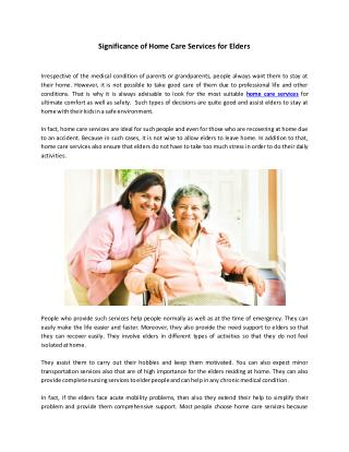 Significance of Home Care Services for Elders