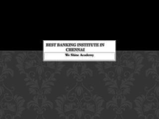 Best Banking Institute in Chennai